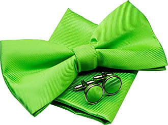 Retreez Plain Woven Microfiber Pre-tied Bow Tie (Width: 5) with matching Pocket Square and Cufflinks, Gift Box Set as a Christmas Gift, Birthday Gift - Green