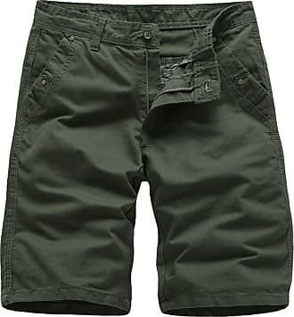 Yonglan Mens Cargo Style Shorts Workwear Casual Pants with Side Pockets Army Green 36