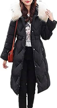JERFER Womens Casual Fashion Winter Warm Hooded Coat Long Cotton Padded Jackets Pocket Coats