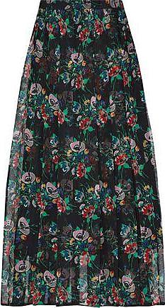 5d36bba41 Christopher Kane Christopher Kane Woman Crystal-embellished Pleated  Floral-print Silk-gauze Midi