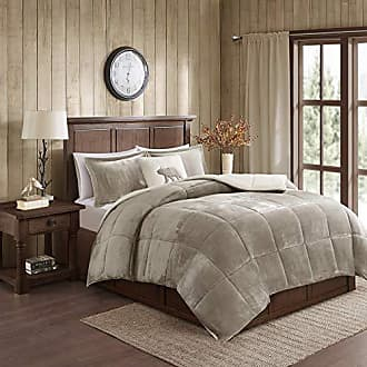 Woolrich Alton Ultra Soft Plush to Sherpa Berber Down Alternative Cold Weather Winter Warm Comforter Set Bedding, Twin, Taupe/Ivory