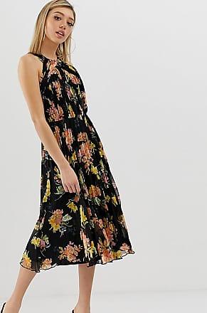 Asos Petite ASOS DESIGN Petite - Vestito midi a fiori allacciato al collo con corpino a pieghe-Multicolore