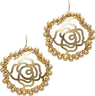 Tinna Jewelry Brinco Dourado Rosa Com Bolinhas (Grande)