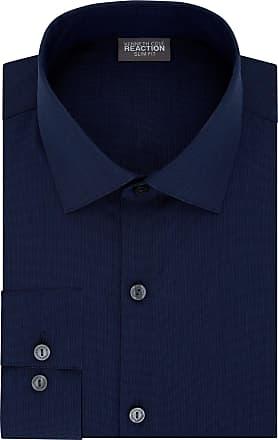 Kenneth Cole Reaction mens32R2288Dress Shirt Slim Fit Technicole Stretch Solid Spread Collar Long Sleeve Dress Shirt - Blue - 17 Neck 32-33 Sleeve