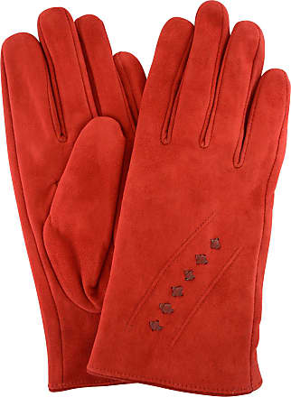 1f92f7714c8e1 SNUGRUGS Ladies Suede Gloves with Fleece Lining and Stitch Design - Cherry  Red - Medium (