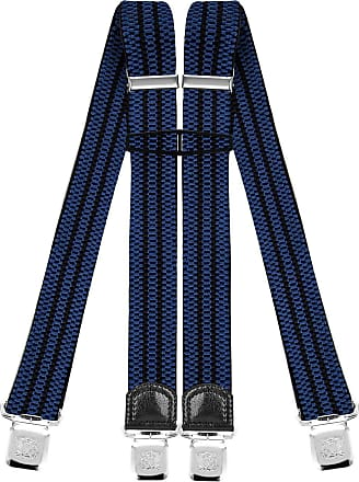 Decalen Mens Braces with Very Strong Clips Heavy Duty Suspenders One Size Fits All Wide Adjustable and Elastic X Style (Blue Black)