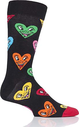 Happy Socks Mens and Ladies Keith Haring Heart Socks Pack of 1 Assorted 4-7