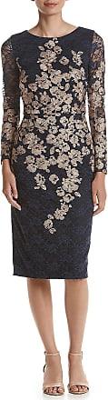 Xscape Womens Blue Floral Long Sleeve Above The Knee Sheath Cocktail Dress Petites Size: 14P