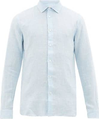 Orlebar Brown Giles Linen Shirt - Mens - Light Blue