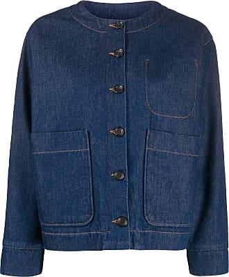 A.P.C. Jaqueta jeans sem colarinho - Azul