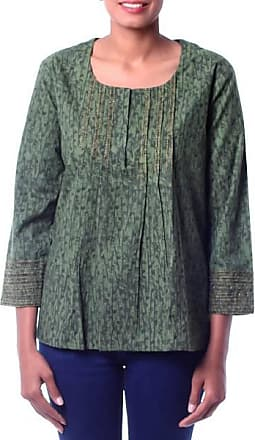 Novica Cotton blouse, Green Quest - Cotton Embroidered Blouse Top