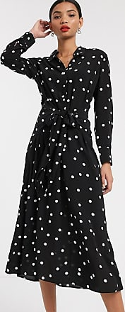 & Other Stories polka dot tie-front midi dress in black