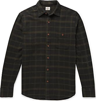 Faherty Seaview Checked Brushed Cotton-blend Flannel Shirt - Charcoal