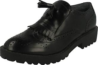 Spot On Ladies Brogue Patterned Slip On Shoe With Fringe Detail - Black - 4 UK (37 EU)