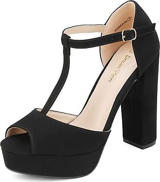 Dream Pairs Womens Platform High Chunky Peep Toe Heel Sandals Jessica-02 Black Nubuck Size 8.5 US / 6.5 UK
