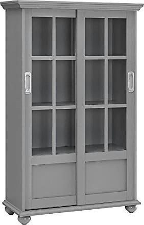 Dorel Home Products Ameriwood Home Altra Aaron Lane Bookcase with Sliding Glass Doors, Soft Gray