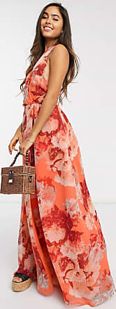 Y.A.S wrap front maxi dress in coral bold floral-Multi