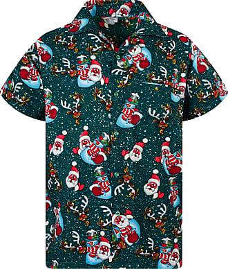 V.H.O. Funky Hawaiian Shirt, Shortsleeve, Christmas Snowflakes, Green, 3XL