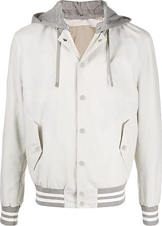 Eleventy striped details hooded jacket - NEUTRALS