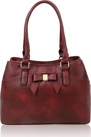 LeahWard Womens Bow Shoulder Bags Large School Handbags R08 (Burgundy)