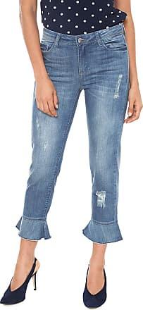 Iodice Calça Jeans Iódice Pantacourt Babado Azul