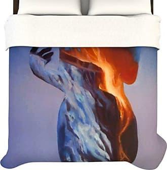 KESS InHouse KESS InHouse Lydia Martin Volcano Girl Blue 104 by 88-Inch Duvet, King