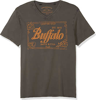 Buffalo David Bitton Mens Short Sleeve Heavy Single v-Neck Jersey Shirt, Charcoal, XL