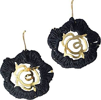 Tinna Jewelry Brinco Dourado Flor Merce Crochê (Preto)