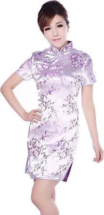 Zhuhaixmy Chinese Women Festive Classical Plum Blossom Printed Cheongsam Brocade Short Sleeves Qipao Dress XXL Purple