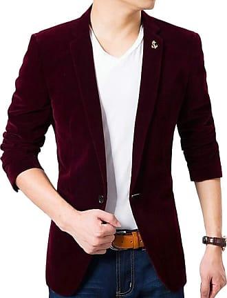 H&E Mens Sport Coat One Button Velvet Casual Lapel Blazer Suit Jacket Red Small