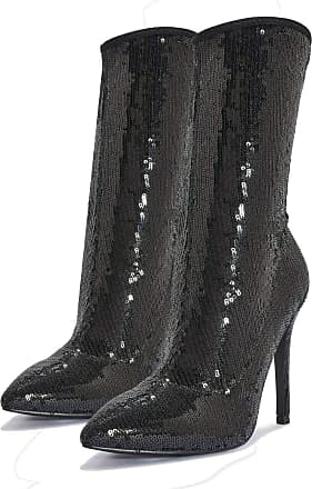 Truffle Truffle Womens Silver Sequin High Heel New Year Party Heel Boots - Black - UK 3