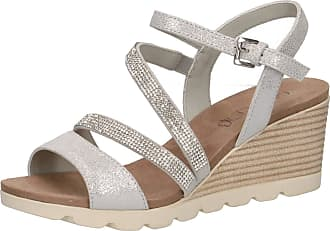 Caprice 28309-22 Women Wedge Sandals,Sandals,Wedge Sandals,Summer Shoes,Comfortable,Flat,(926) Silver SHIN.SU,6.5 UK,6.5 UK