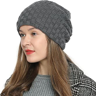 DonDon Womens Winter Beanie Slouch Style with Very Soft Inner Lining - Grey