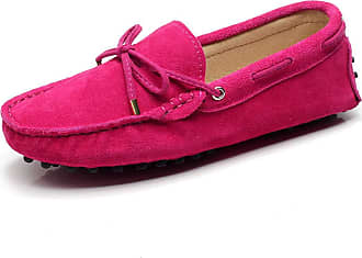 Jamron Womens Classic Suede Bow Tie Loafers Comfort Handmade Slipper Moccasins Fuchsia 24208-2 UK6.5