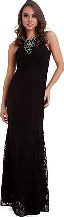 Kinara Vestido Longo Renda com Aplicação na Gola-P