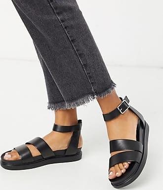 Vagabond Erin - Svarta platta sandaler i läder med två remmar