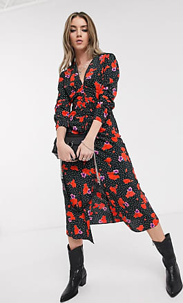 Topshop midi dress with v-neck in spot and floral print-Multi