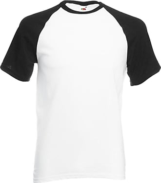 Fruit Of The Loom Mens Fruit Of The Loom 100% Cotton Baseball T-Shirt White/Black X-Large