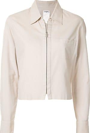 Chanel longsleeve zip up jacket - Neutrals