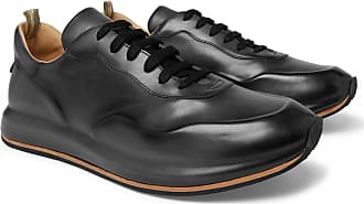 Officine Creative Race Lux Burnished-leather Sneakers - Dark gray
