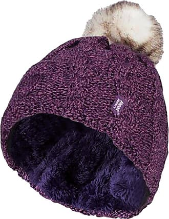 Heat Holders Ladies Warm Knit Fleece Lined Cuffed Thermal Winter Bobble Hat with Pom Pom (One Size, Purple)
