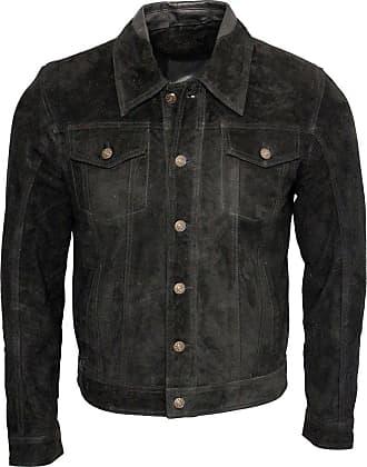 Infinity Mens Retro Black Goat Suede Leather Bomber Varsity Jacket