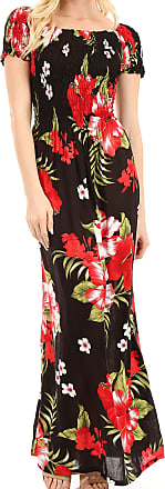 Sakkas TH2031 - Tulay Womens Casual Maxi Floral Print Off Shoulder Dress Short Sleeve Nice - B-Red - OS