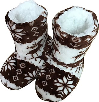 Not Applicable Clothing Winter Boots Slippers Christmas Coral Fleece Reindeer Print Non-Slip Sole Boots Slippers Hi-Top Slippers Home Indoor Shoes Gift for Men Women Brown