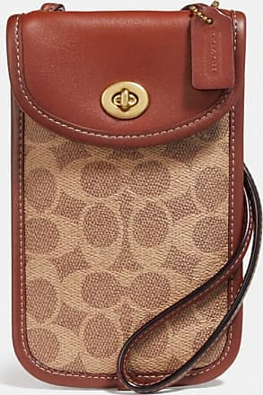 Coach Flat Turnlock Crossbody 12 In Signature Canvas in Beige