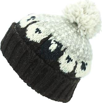 Loud Elephant Wool Knit Bobble Beanie Hat - Sheep - Brown Grey
