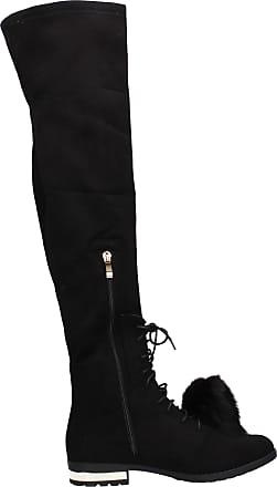 Swankyswans Grace Faux Suede Knee High Warm Winter Boots Gold Zipper & Heel Detail Black UK Size 3 / EU 36
