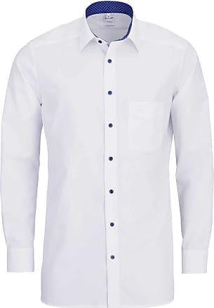 Olymp Tendenz Modern Fit Plain Long Sleeve Shirt with Printed Trim - White 17 (43cm) White