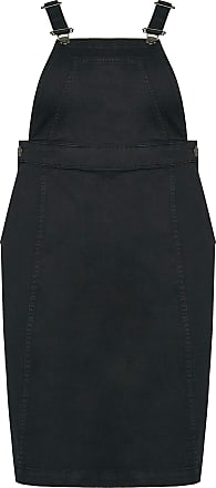 Yours Clothing Pinafore Dress with Clip Fastenings Chest Pocket Size 18 Black