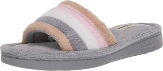 Dearfoams Womens Alice Colorblocked Microfiber Terry Slide Slipper, Neutral Combo, XL